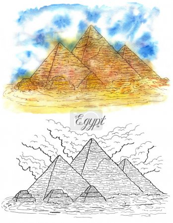 watercolor and graphic illustration of pyramids