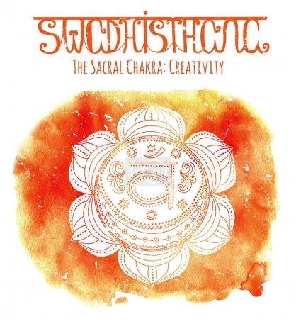 Photo for Watercolor and graphic illustration, esoteric drawings. Hand drawn white sacral chakra on watercolor background with lettering - Royalty Free Image