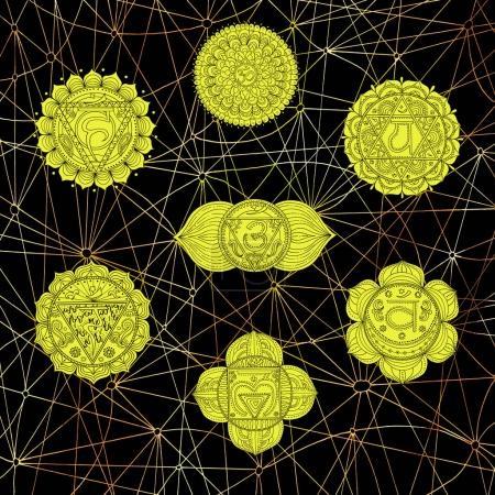Golden chakras of human body