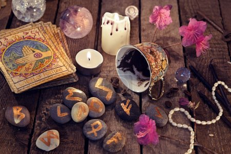 Divination rite with coffee and stone runes