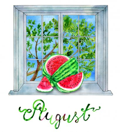 August month concept. Watermelon against the background with green tree in window