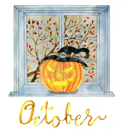 October month concept with pumpkin head and fall tree in the window. Halloween background