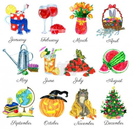 Collection with conceptual watercolor symbols of 12 months isolated on white