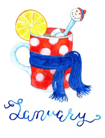 January. Cup with warm drink in scarf