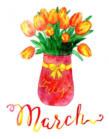 March. Bunch of tulips in vase
