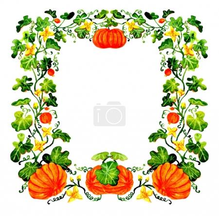 Watercolor Halloween frame with pumpkins isolated on white background