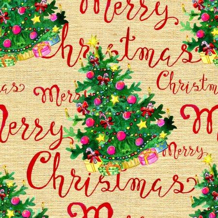 Photo pour Graphique, aquarelle et modèle vintage de vacances de Noël et de nouvel an à main illustration dessinée avec lettrage - image libre de droit