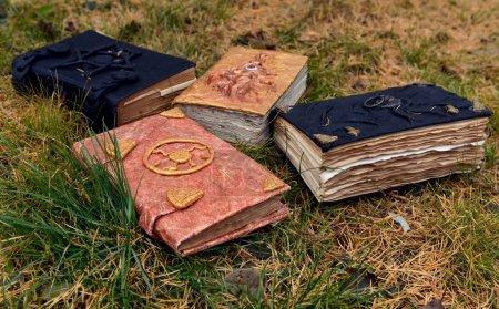 Photo pour Vieux livres magiques sur fond d'herbe. Concept occulte, ésotérique, divination et wicca, fond mystique - image libre de droit