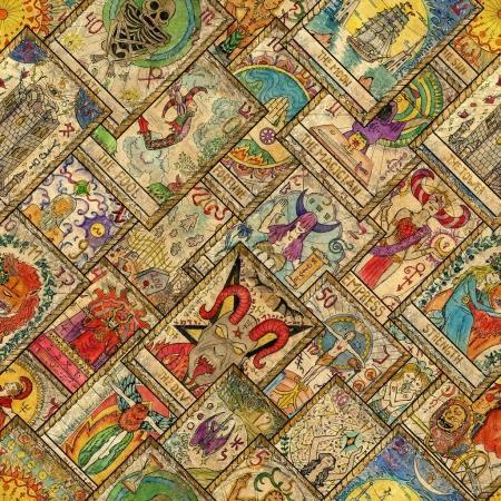 Photo pour Modèle sans couture avec les cartes de tarot dessinés à la main en diagonale mise en page. Occulte, ésotérisme, divination et wicca concept. Fond d'astrologie mystique et vintage pour les décorations antiques, scrapbooking - image libre de droit