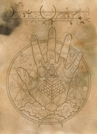 Photo pour Scrapbook fond de conception avec la main et des symboles mystiques. Maçonnerie et sociétés secrètes emblèmes, dessins mystiques occultes et spirituels. Conception de tatouage, nouvel ordre mondial - image libre de droit