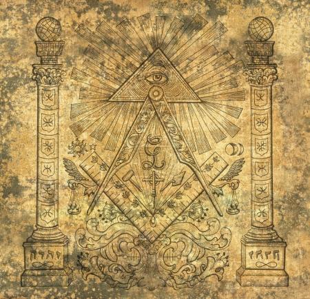 Photo pour Scrapbook fond de conception avec des symboles religieux maçon. Maçonnerie et sociétés secrètes emblèmes, dessins mystiques occultes et spirituels. Conception de tatouage, nouvel ordre mondial - image libre de droit