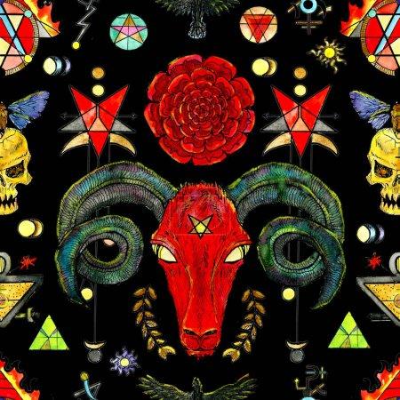 Photo pour Fond transparent avec les symboles de la mort et le diable sur fond noir. Franc-maçonnerie et sociétés secrètes, emblèmes, dessins mystiques occultes et spirituels. Conception de tatouage fantaisie, nouvel ordre mondial - image libre de droit