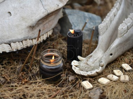 Photo for Close up of horse skull with teeth, ancient runes and burning black candles. Mystic background with ritual esoteric objects, occult and halloween concept - Royalty Free Image