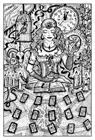Illustration for Fortune Teller with Tarot cards. Engraved fantasy illustration - Royalty Free Image