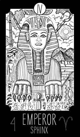 Emperor. Sphynks. Tarot card