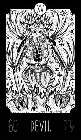 Fantasy engraved line art illustration. Engraved v...