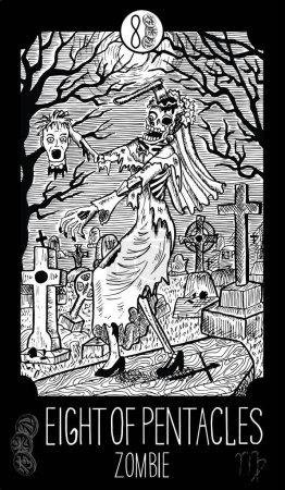 Eight of Pentacles. Zombie