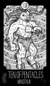 Minotaur Monster and labyrinth Engraved fantasy illustration