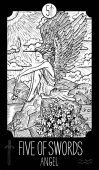 Engraved vector fantasy illustration of Angel with flowers