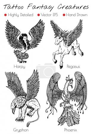 Tattoo set with hand drawn fantasy creatures Phoenix, Gryphon, etc