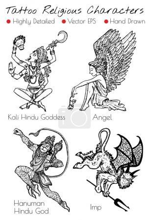 Tattoo set with hand drawn religious characters Kali, Angel, Imp, Hanuman