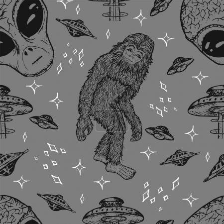 Seamless background with alien and UFO concept
