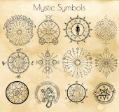 Big set with mystic and occult symbols on textured background