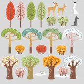 Set of flat forest elements. Trees and animals. Autumn summer, winter, spring trees, bushes. Hare, wolf, deer. Vector graphics