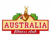 Logo Signboard Kangaroo wring out the dumbbell Australian fitness club Vector graphics