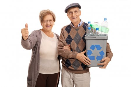Man holding recycling bin and woman giving thumb up