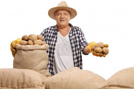 Mature agriculteur avec une toile de jute Sacs et pommes de terre