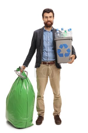 Man with a recycling bin full of plastic bottles and a garbage bag