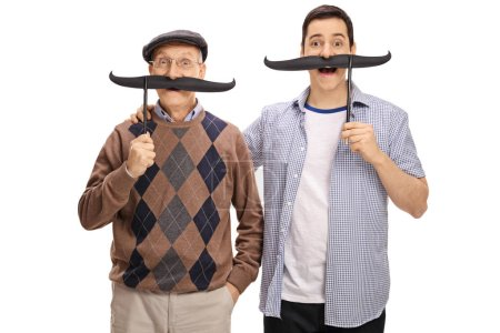 men posing with big fake moustaches