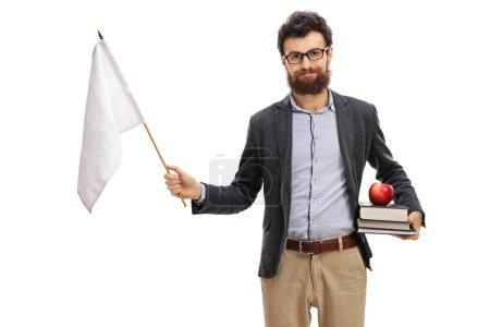 Male teacher holding white flag