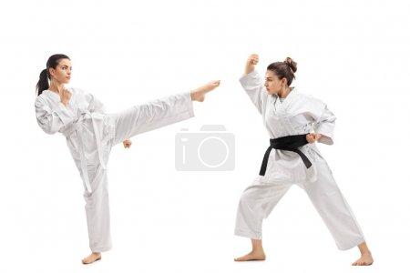 women in kimonos practicing martial arts