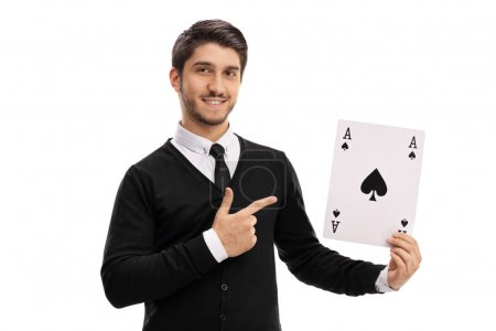 man holding an ace of spades card and pointing
