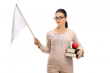 Disappointed female teacher holding a white flag