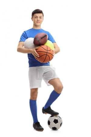 Teenage athlete with different kinds of sports balls