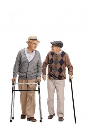 man with walker and another man with cane walking
