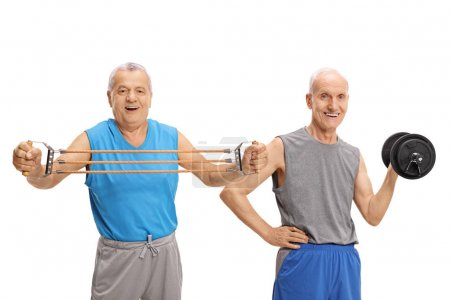 mature men exercising with resistance band and dumbbell