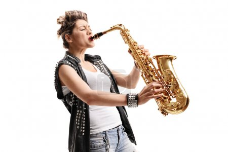 Female punker playing a saxophone