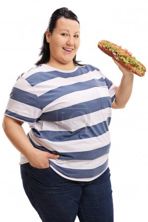 Overweight woman with a sandwich