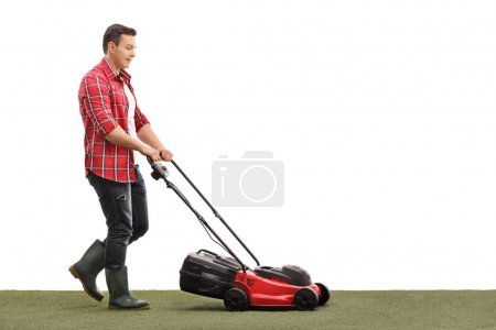 Gardener mowing a lawn with a lawnmower