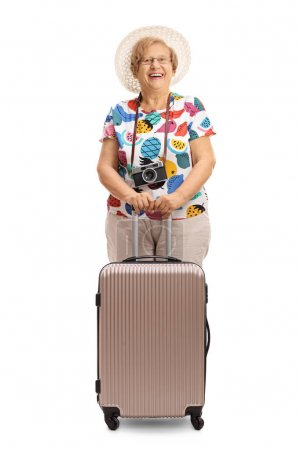 Elderly tourist with a suitcase