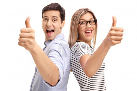 man and woman holding their thumbs up