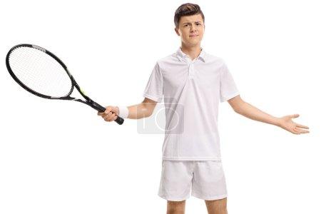 Unsatisfied teenage tennis player