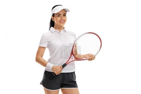 Foto de Jugador femenino del tenis con una raqueta aislada sobre fondo blanco - Imagen libre de derechos