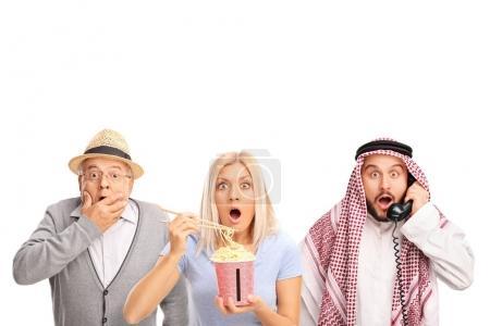 Senior, woman and an arab man making surprise gestures