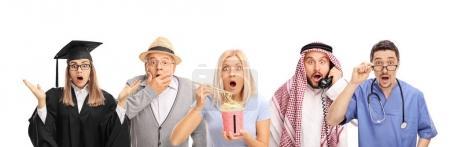 Men and women making shocked gestures