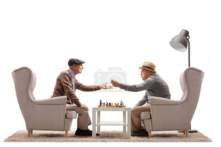 Seniors playing a game of chess and arguing